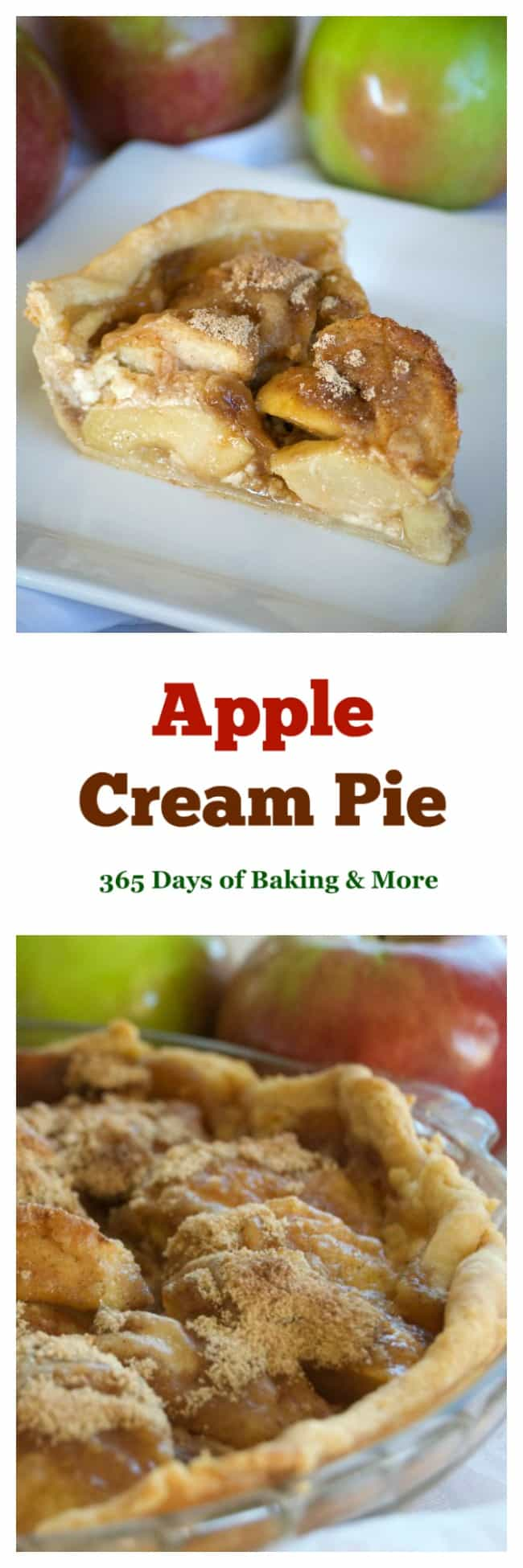 This Apple Cream Pie is a super easy and very delicious apple pie. Covered in cinnamon sugar and some heavy cream, it's sure to bring smiles all year round.