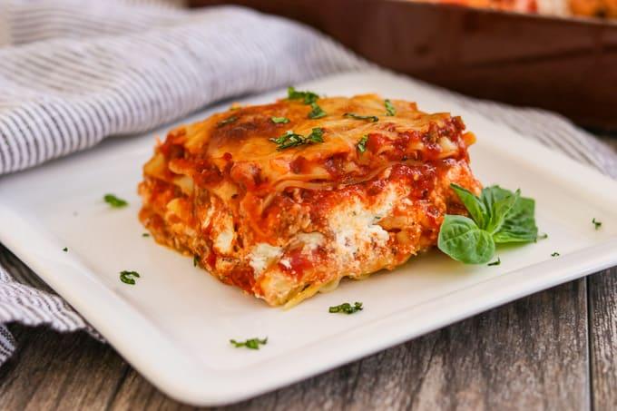 Lasagna on a plate.