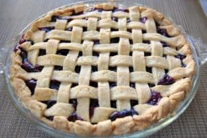 Fresh blueberries in a homemade lattice crust make this pie delicious!