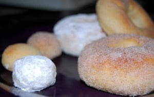 A variety of cinnamon, plain, and powdered doughnuts.