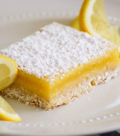Easy Lemon Bar slice.