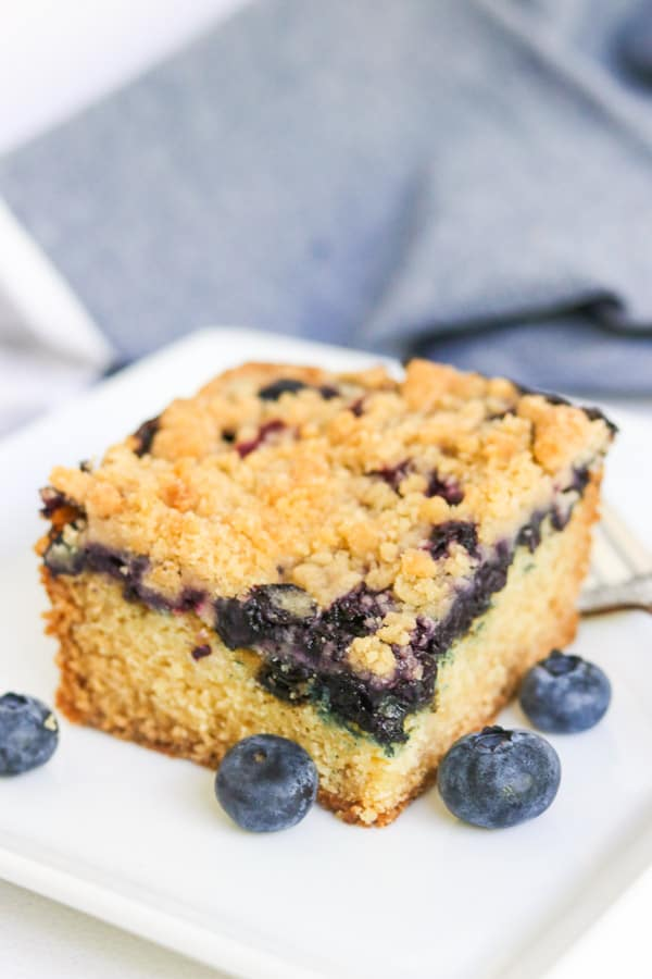 A slice of Blueberry Crumb Cake.