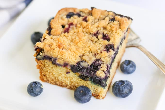 Cake, blueberries, and a crumb topping - perfect for coffee or tea!