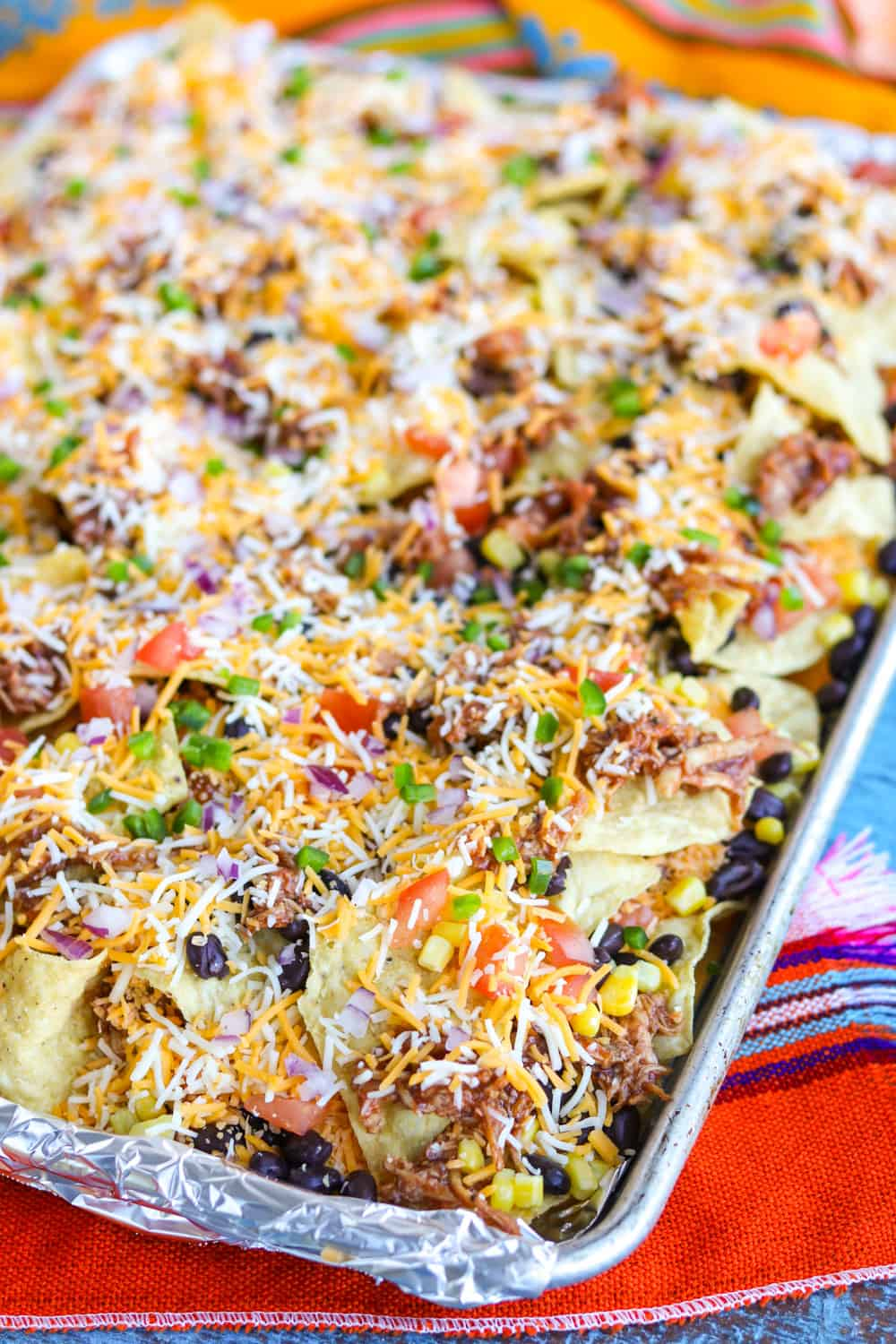 Oven ready nachos with all the fixins!