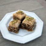 Baklava - layers of buttered phyllo dough, with chopped pistachios, almonds and walnuts all covered with a honey syrup. Delicious!