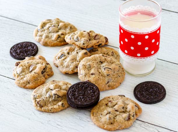 Oreo Chocolate Chip Cookies and a glass of milk.