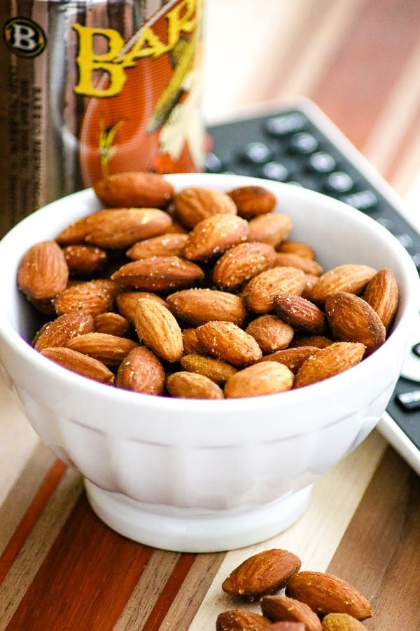 Bowl of Baked Spiced Almonds.