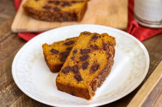 Slices of Chocolate Chunk Pumpkin Bread on a plate.