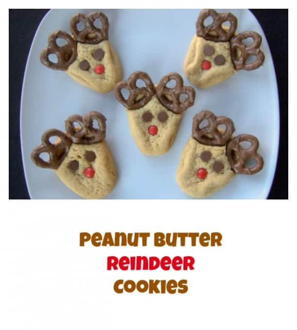 peanut butter cookies with chocolate covered pretzels cinnamon red hots and chocolate chips make these