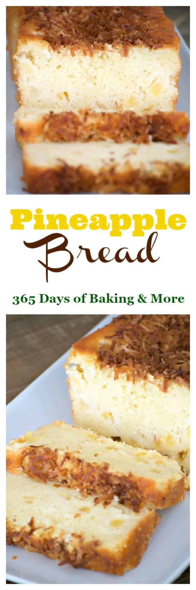 This Pineapple Bread is a great treat in the morning with your cup of coffee and the toasted coconut on the top helps you feel like you're in the tropics!