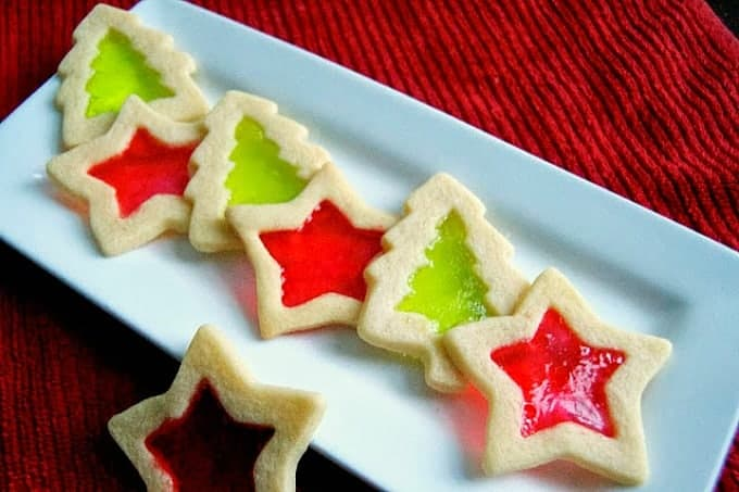 Sugar cookie cut-outs filled with Jolly Rancher candies to create a stained-glass window effect.