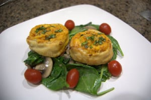 Day 287 – Butternut Chicken Pinwheels Over Sauteed Spinach in a White Wine Mushroom Sauce