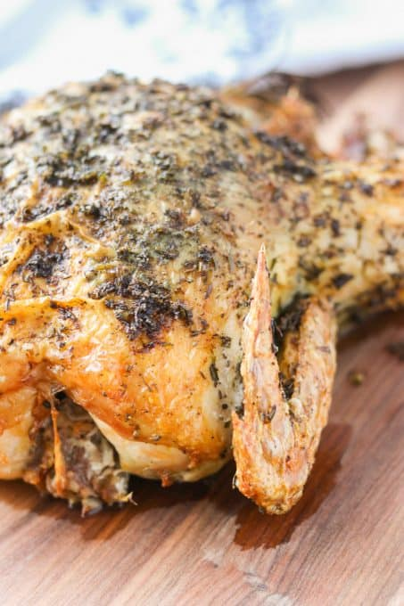 Roast chicken with herbs and lemon.