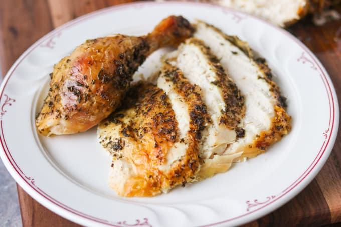 Roast chicken with lemon and herbs.