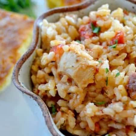 Jambalaya, dish native to Louisiana, it's a hearty meal of rice, chicken, Andouille sausage and shrimp with some Cajun spice.