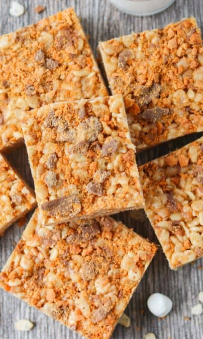 Rice Krispies Treats with peanut butter and Butterfinger candy bars.