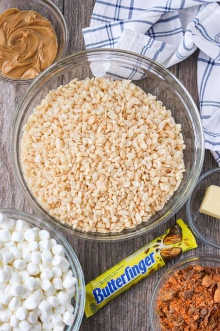 Ingredients for Butterfinger Rice Krispies Treats.