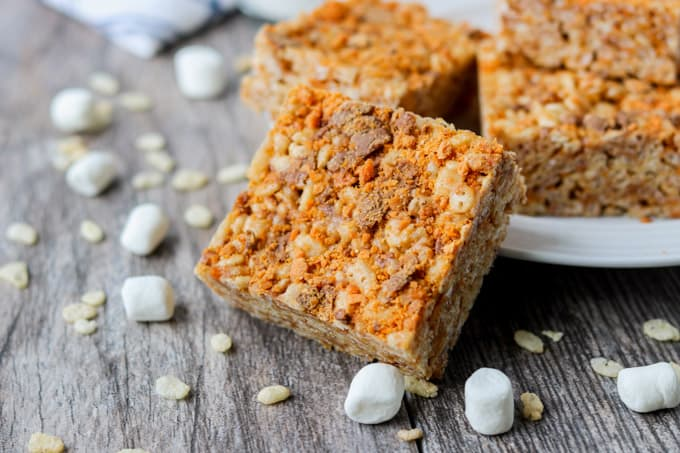 Rice Krispie Treats with crushed Butterfinger candy bars and peanut butter.