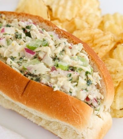 Chicken Salad sandwich with potato chips.