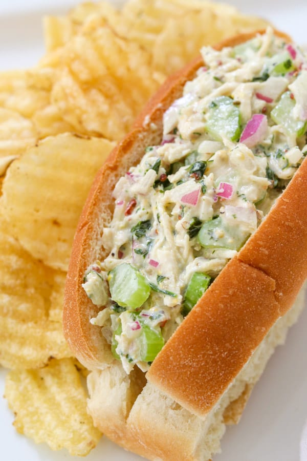 Easy Chicken Salad in a roll.
