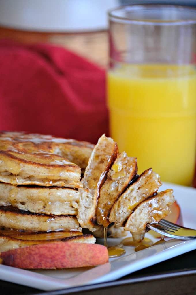 Cinnamon Peach Pancakes
