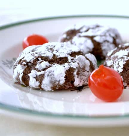 The Chocolate Crinkle cookie that we all love so much with cherries!