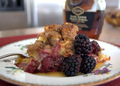 A delicious baked French toast made even better with the addition of blackberries!