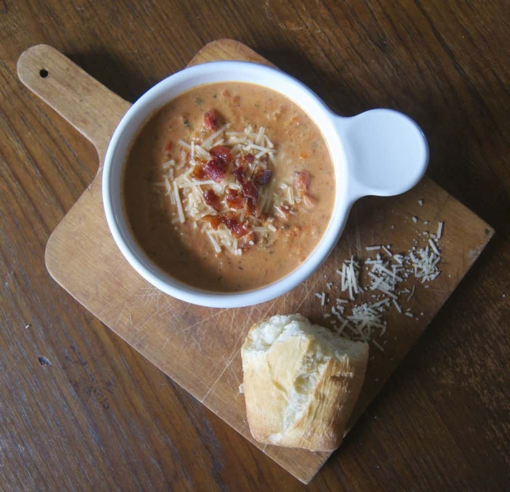 A bowl of Creamy Tomato Basil Soup