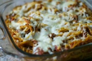 Spaghetti mixed with a meat sauce, topped with shredded mozzarella and baked in the oven.