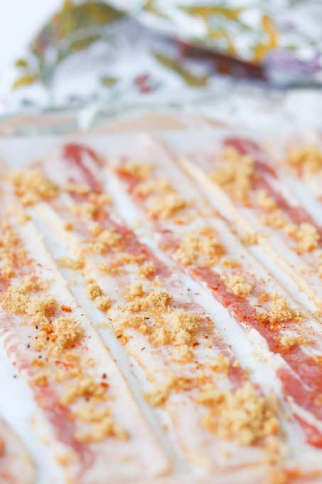 Bacon ready to be baked in the oven.