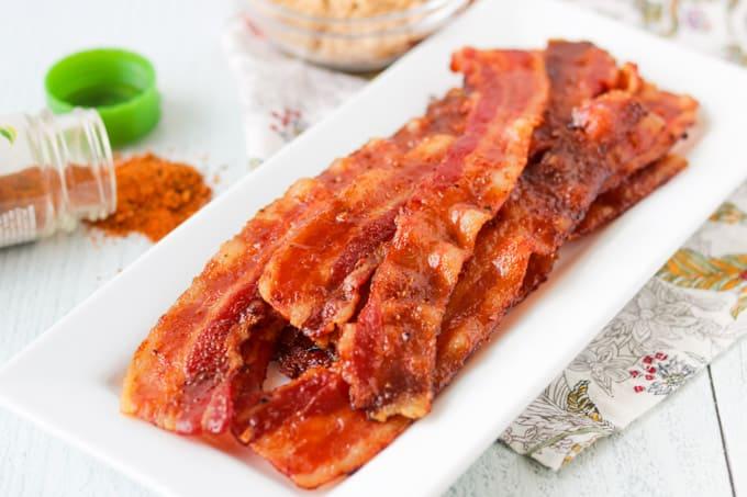 Bacon with brown sugar and cajun seasoning.