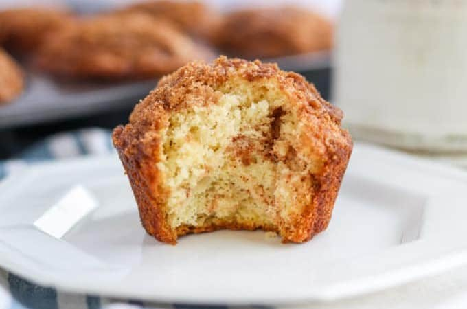 The inside of a muffins with cinnamon sugar.