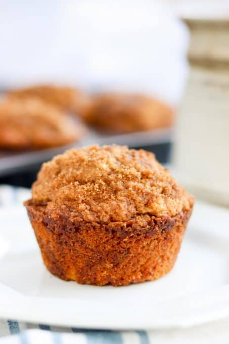 A Cinnamon Muffin on a plate.