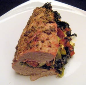 Day 363 – Mixed Green and Andouille Stuffed Pork Loin
