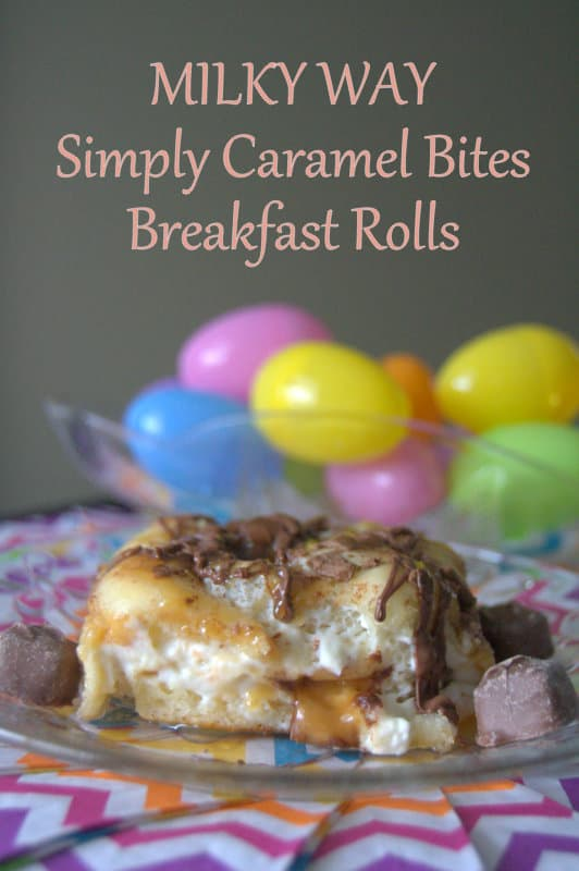 MILKY WAY Simply Caramel Breakfast Rolls - breakfast rolls filled with whipped cream cheese, and chopped MILKY WAY Simply Caramel, drizzled with milk chocolate and caramel.