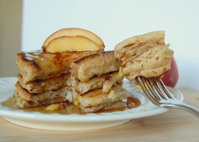 Cinnamon Peach Pancakes - pancakes filled with cinnamon and diced peaches for a delicious breakfast treat!