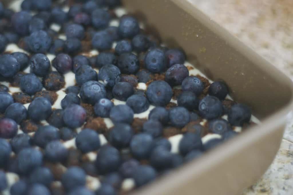 Blueberry Lemon Cheesecake Bars - lemony cheesecake bars covered in blueberries and a lemon streusel topping.