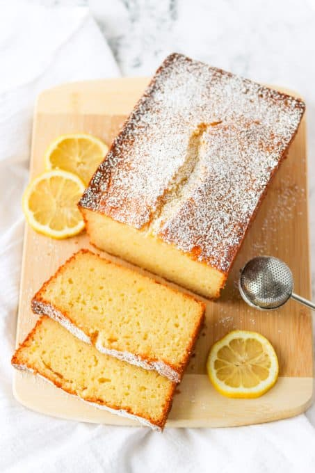 Overhead view of a pound cake made with lemons.