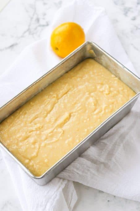 Lemon pound cake ready to be baked.