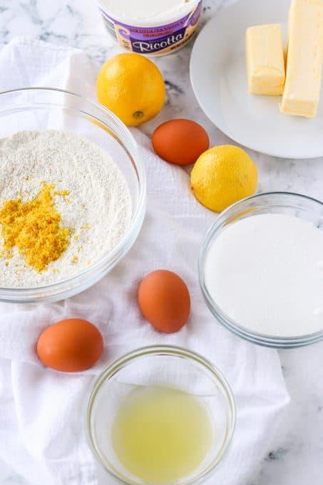 ingredients set out to make a pound cake.