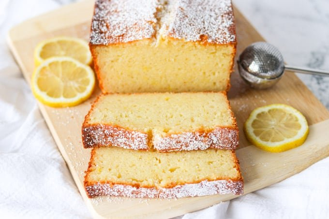 Slices of a pound cake made with lemons.