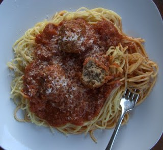 Meatballs and Spaghetti - meatballs made with beef, pork and lamb, spices, garlic, onion and some lemon zest. So much flavor in each bite!