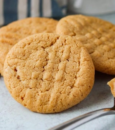 Close up of a peanut butter cookie.
