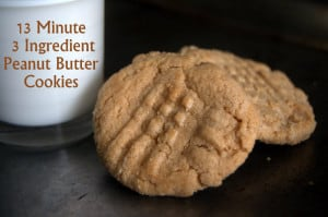 13 minute, 3 Ingredient Peanut Butter Cookies
