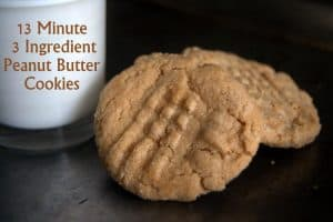 13 Minute, 3 Ingredient Peanut Butter Cookies - SO easy, SO fast and oh SO good!