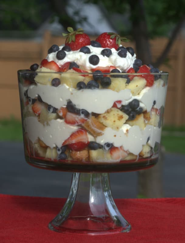 Red, White & Blue Berry Delight - strawberries Lenox, blueberries, fresh whipped cream and homemade poundcake make up this festive patriotic holiday dessert!