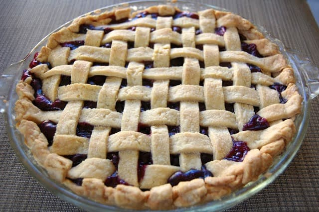 Blueberry Pie - that wonderful comfort food dessert served with a lattice top.