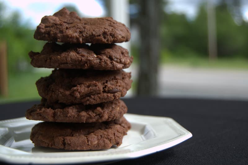 Double Chocolate Toffee Cookies - rich chocolate cookies with dark chocolate chips and crunchy bits of toffee candy.