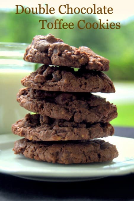 Rich chocolate cookies with dark chocolate chips and crunchy bits of toffee candy.