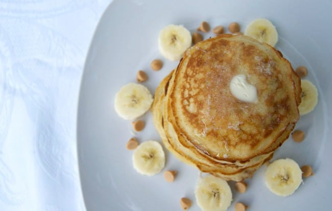 Pancakes with bananas and peanut butter chips make for an unbelievable breakfast!